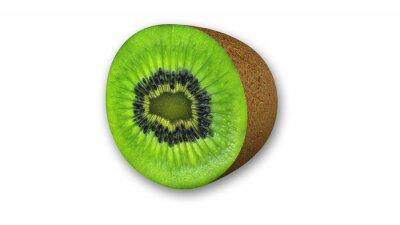 Väggdekor Kiwi skivad frukt halv isolerade på vit bakgrund