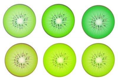 Väggdekor Kiwi skivor i flera grön skugga färg