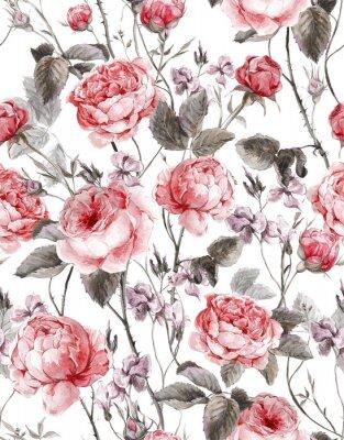 Väggdekor Klassisk blom- seamless, vattenfärg bukett