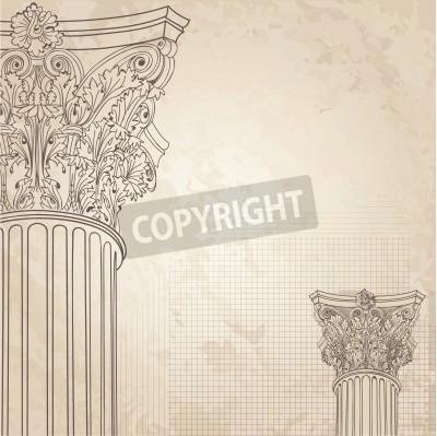 Väggdekor Klassiska kolumner sömlös bakgrund. Roman corinthian kolonn. Illustration onold papper bakgrund för design skiss