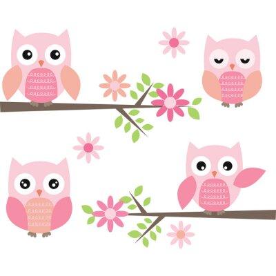 Väggdekor Klipp Owl och grenar