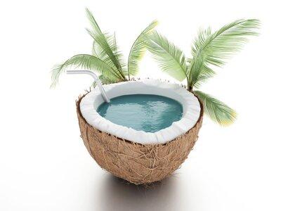 Väggdekor kokos paradis. sommar koncept på vit bakgrund