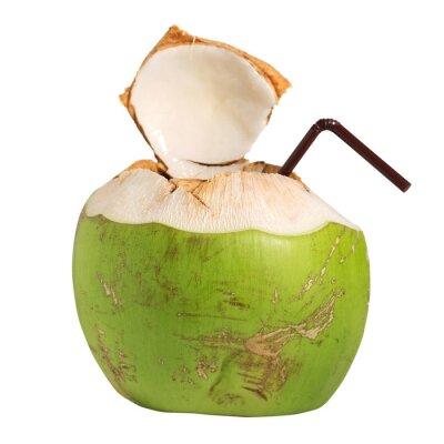 Väggdekor Kokos vatten fruktdryck isolerad på vitt