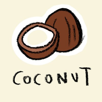 Väggdekor Kokosnöt på blek bakgrund