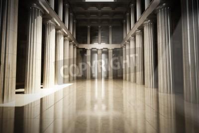 Väggdekor Kolumn inre tomt rum, lag eller statlig bakgrund begrepp, 3d modellerar scen