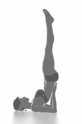 Väggdekor Kondition och stretching på vitt isolerade - värma upp koncept