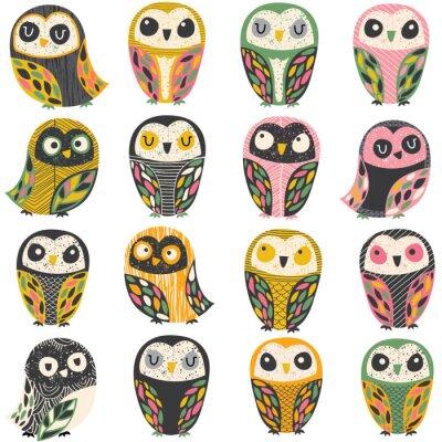 Väggdekor konstnärligt owlillustration