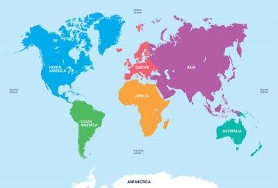 Väggdekor Kontinenter i världen, Map