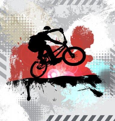 Väggdekor Kontur av en cykelrytter, vektor