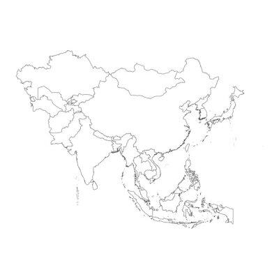 Väggdekor Kontur på ren bakgrund av den asiatiska kontinenten