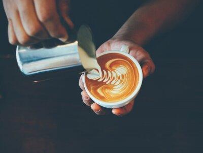 Väggdekor kopp kaffe latte art i kafé