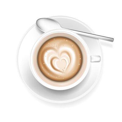 Väggdekor Kopp kaffe med hjärtat form i skum