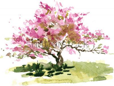 Väggdekor körsbärsblommaträd med vattenfärg, vattenfärg skiss av blommande äppelblommar, målningsträdgård, handfrekt vektorkonst bakgrund