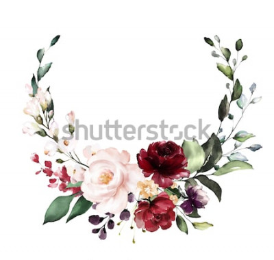 Väggdekor Kort. Akvarellinbjudningsdesign med vinröd och röda rosor, blad. blomma, bakgrund med blommiga element, botanisk akvarellillustration. Vintage mall. krans, rund ram