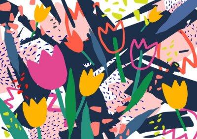 Väggdekor Kreativ horisontell bakgrund med tulpanblommor och färgglada abstrakta fläckar och krypa. Ljusfärgad dekorativ bakgrund. Trendig konstnärlig vektorillustration i modern konststil.