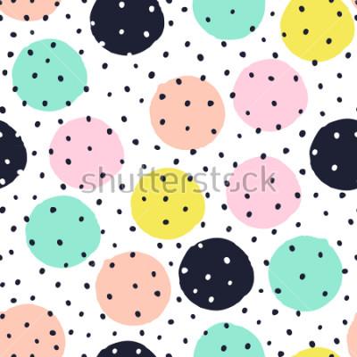Väggdekor Kreativt sömlöst mönster med handdragen texturer. Abstrakt bakgrund. Polka dot mönster.