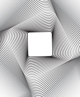 Väggdekor kvadrat optisk konstbakgrunds svart och vitt