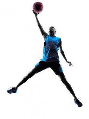 Väggdekor kvinna basketspelare silhuett