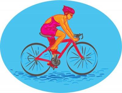 Väggdekor Kvinna cyklist ridning cykel Teckning