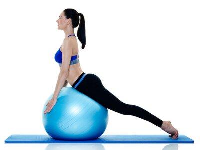 Väggdekor kvinna fitness pilates övningar isolerade