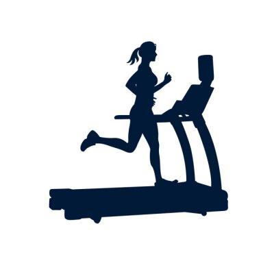 Väggdekor kvinna gör övningar på löpband, på vit bakgrund,