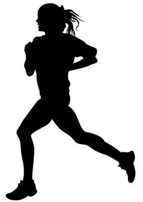 Väggdekor Kvinna idrottare på löpartävling på vit bakgrund