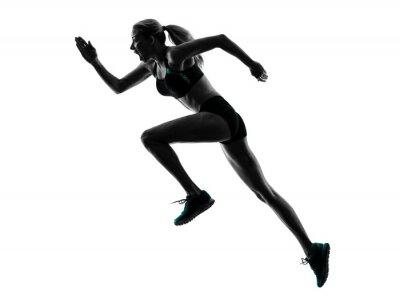 Väggdekor kvinna löpare rinnande jogger jogging silhuett