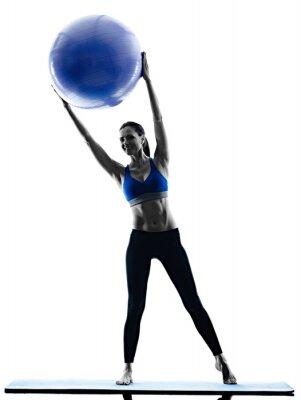 Väggdekor kvinna pilates boll övningar fitness isolerade