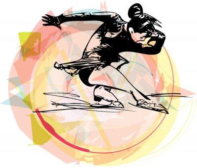 Väggdekor kvinna skridskoåkaren skridskor på färgidrottsarena