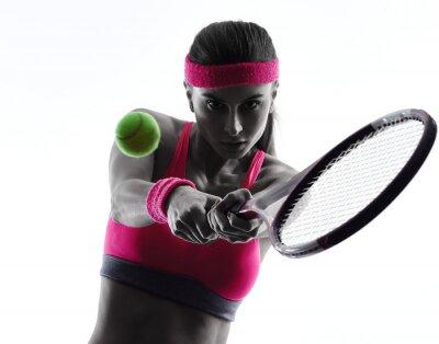 Väggdekor kvinna tennisspelare porträtt silhuett
