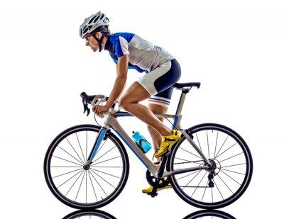 Väggdekor kvinna triathlon ironman idrottsman cyklist cykling