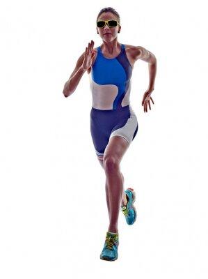 Väggdekor kvinna triathlon ironman löpare rinnande idrottsman