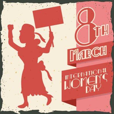 Väggdekor KvinnaSilhouette marscherar i kvinnodagen Retro affisch, Vector IlVector Illustration