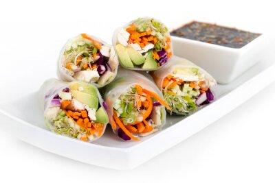 Väggdekor kyckling och avokado ris papper vårrullar