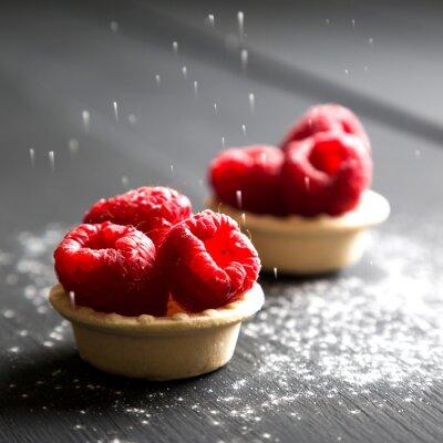 Väggdekor läcker dessert tårtor med färska hallon