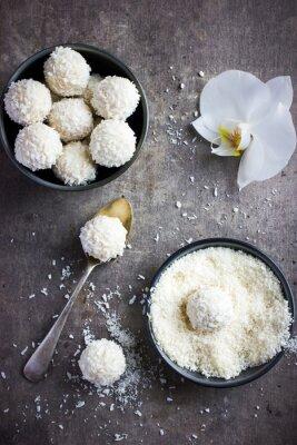 Väggdekor läcker homamade vit choklad och kokos godisbollarna