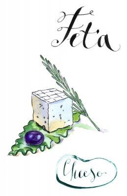 Väggdekor Läcker skivad grekiska fetaost med olivolja, rosmarin och sala