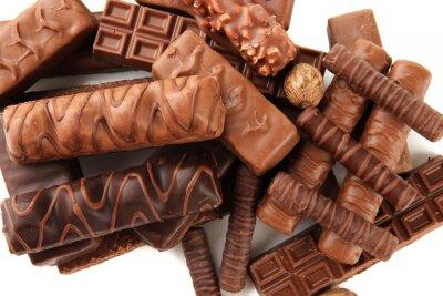 Väggdekor Läckra chokladkakor med nötter närbild