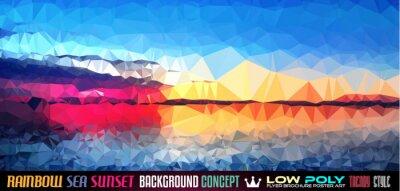Väggdekor Låg Poly TSEA Sunset Konst bakgrund för din polygonal flygblad