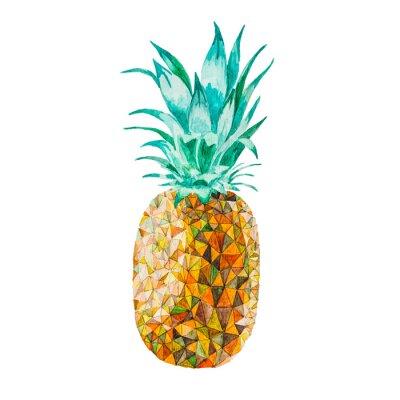 Väggdekor Låg poly vattenfärg ananas