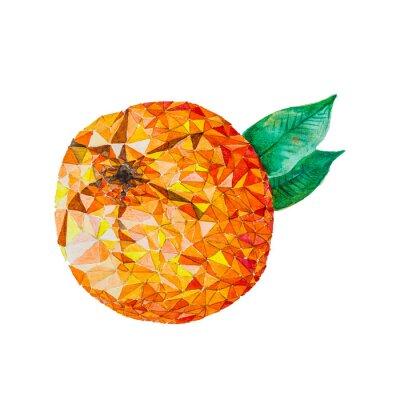 Väggdekor Låg poly vattenfärg apelsin