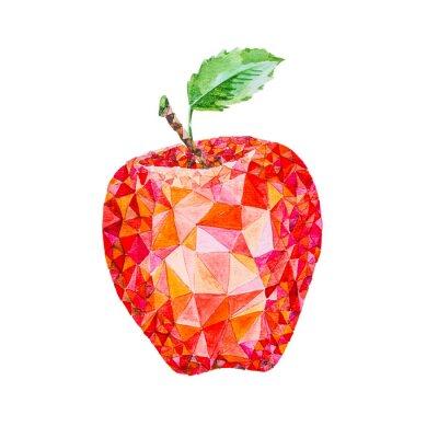 Väggdekor Låg poly vattenfärg äpple