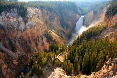 Väggdekor Lägre nedgångar - Solljus belyser spray som Yellowstone River kraschar över de lägre nedgångarna i Yellowstone Grand Canyon.