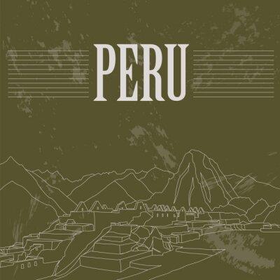 Väggdekor landmärken Peru. Retro stil bild.