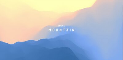 Väggdekor Landscape with mountains and sun. Sunrise. Mountainous terrain. Abstract background. Vector illustration.
