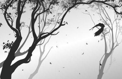 Väggdekor landskap med en flygande uggla