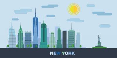 Väggdekor Landskapet av skyskrapor i New York City med Frihetsgudinnan. Vektor platt illustration.