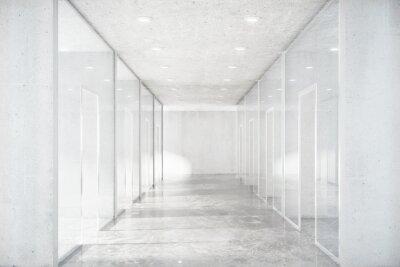 Väggdekor Lång korridor med betonggolv och genomskinliga väggar i moder