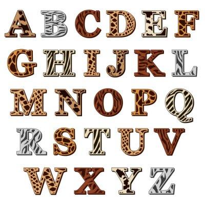 Väggdekor Latinska alfabetet med djur print