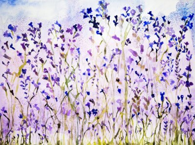 Väggdekor Lavendel med prickar. Den badda teknik ger en mjuk fokus effekt på grund av den förändrade ytjämnhet av papperet.
